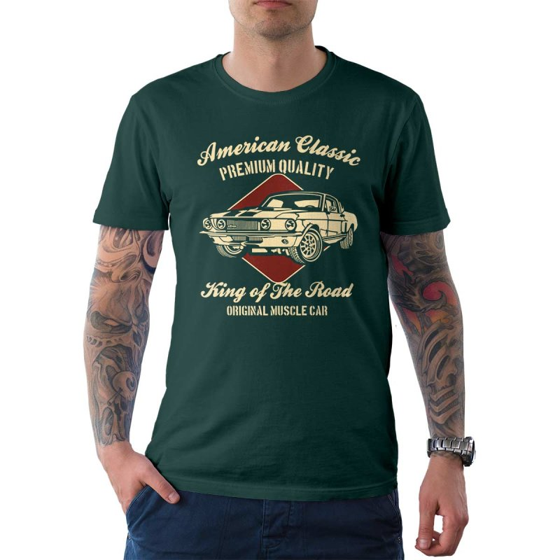 Rebel On Wheels Herren T-Shirt Tee Mustang American Classics Petrol S