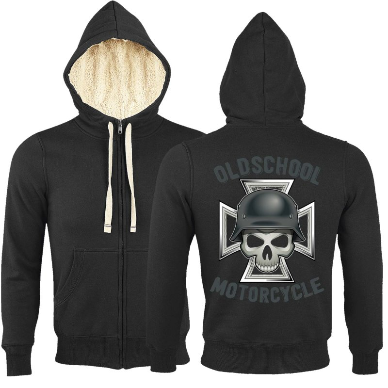Rebel On Wheels Sherpa Zip Hoodie Schwarz German Oldschool Motorcycle