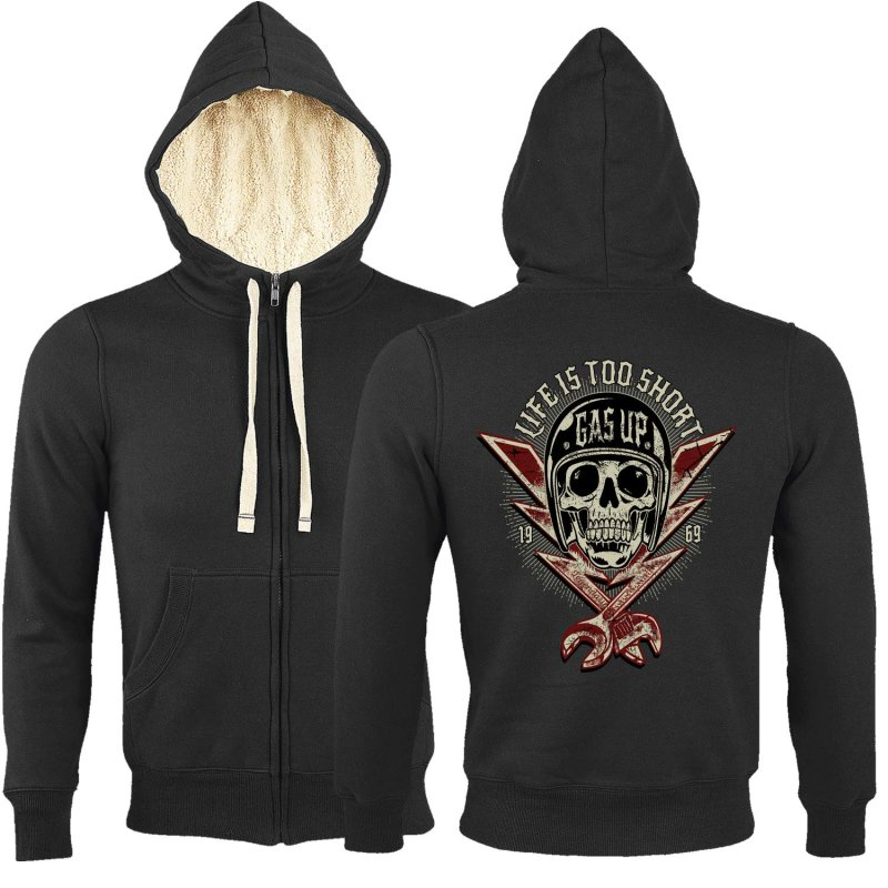 Rebel On Wheels Sherpa Zip Hoodie Schwarz Gas Up M