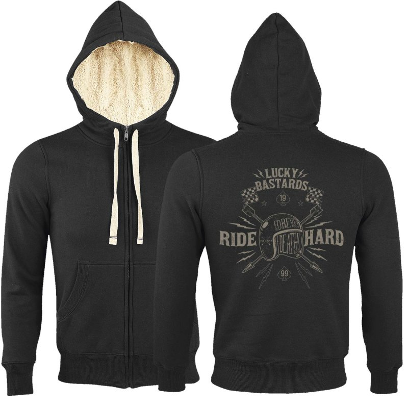 Rebel On Wheels Sherpa Zip Hoodie Schwarz Lucky Bastard M