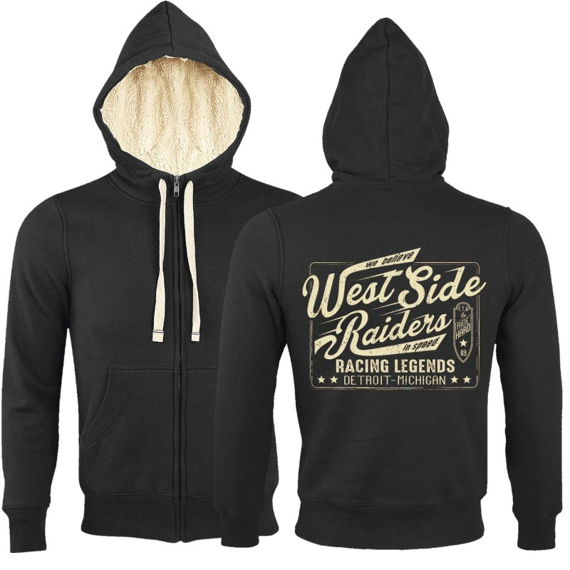 Rebel On Wheels Sherpa Zip Hoodie Schwarz West Side Raiders