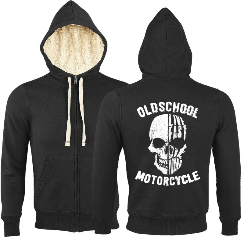 Rebel On Wheels Sherpa Zip Hoodie Schwarz Oldschool Motorcycle 2XL