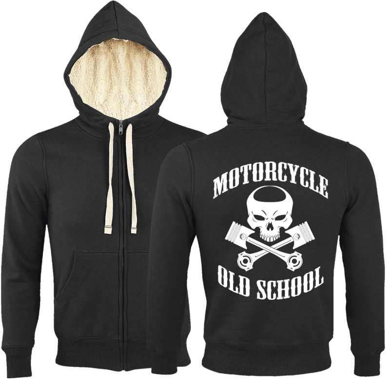 Rebel On Wheels Sherpa Zip Hoodie Schwarz Oldschool Punisher XL