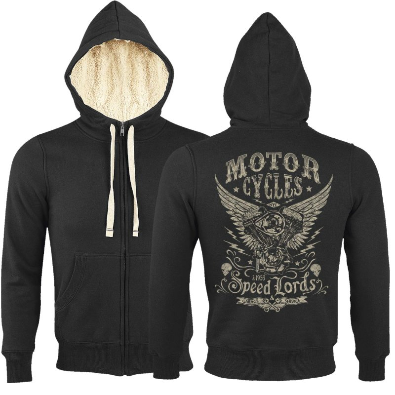 Rebel On Wheels Sherpa Zip Hoodie Schwarz Speedlords 2XL