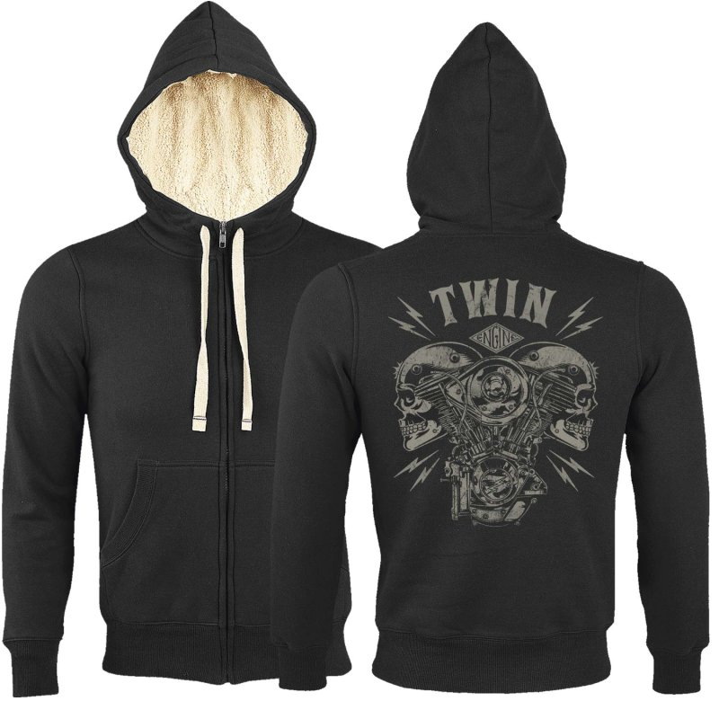 Rebel On Wheels Sherpa Zip Hoodie Schwarz V-Twin Skull 2XL