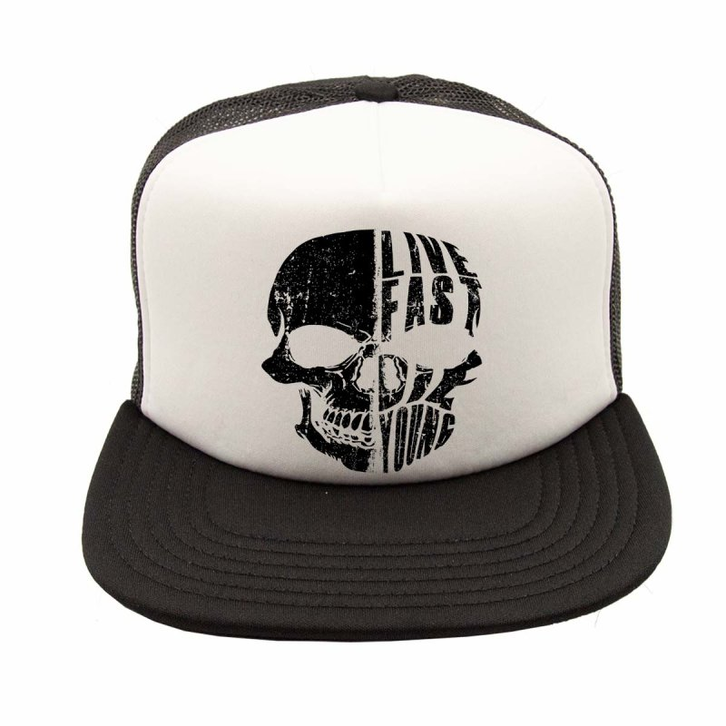 Rebel On Wheels Flat Visor Trucker Cap Baseball Cap Live Fast Skull