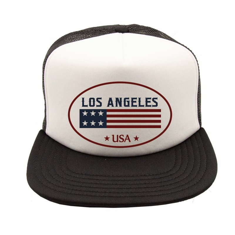 Rebel On Wheels Flat Visor Trucker Cap Baseball Cap Los Angeles USA