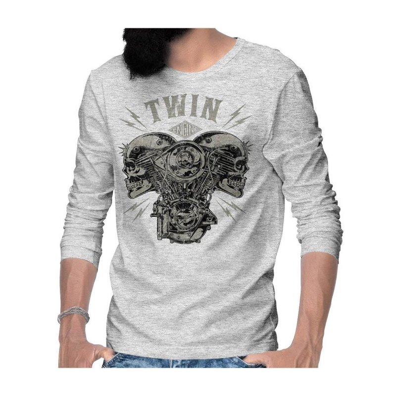 Rebel On Wheels V-Twin Skull Langarm T-Shirt Longsleeve Tee Grau Melange 2XL