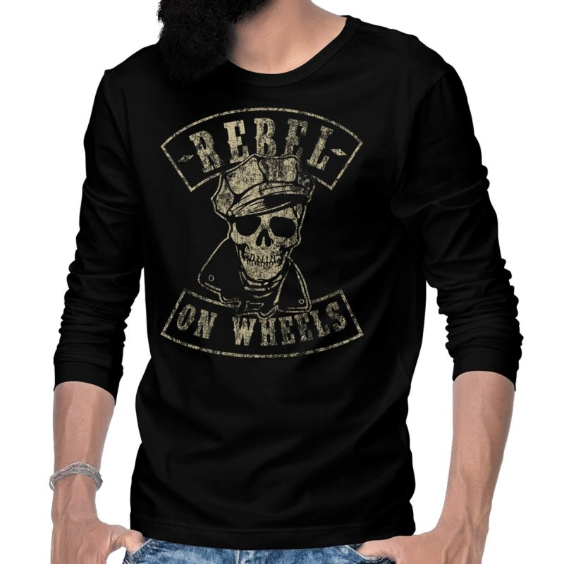 Rebel On Wheels Marlon Skull Langarm T-Shirt Longsleeve Tee Schwarz 3XL