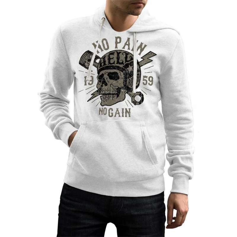 Rebel On Wheels Herren Hoodie Totenkopf No Pain No Gain Skull Weiß XL