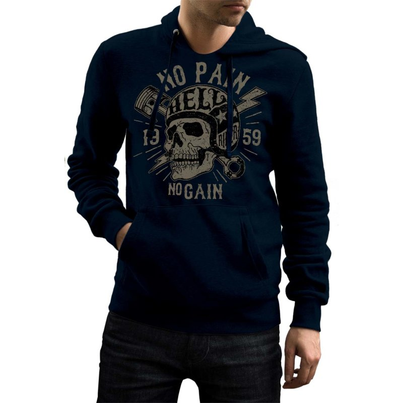 Rebel On Wheels Herren Hoodie Totenkopf No Pain No Gain Skull Blau 2XL