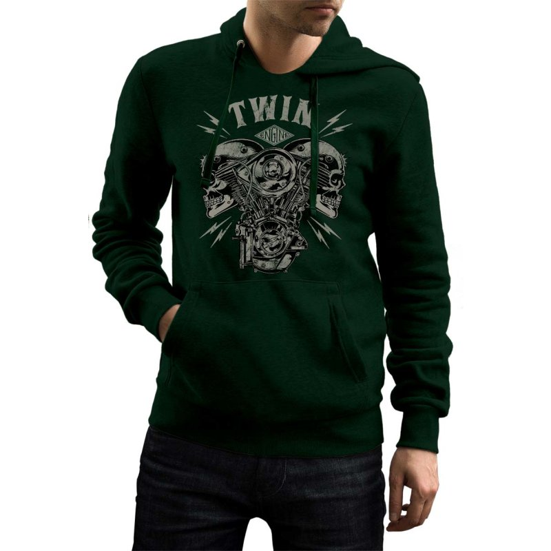 Rebel On Wheels Herren Hoodie Totenkopf V-Twin Skull Dunkelgruen 2XL