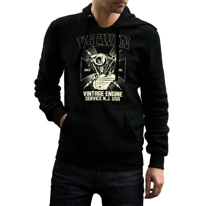 Rebel On Wheels Herren Hoodie Biker Vintage Engine