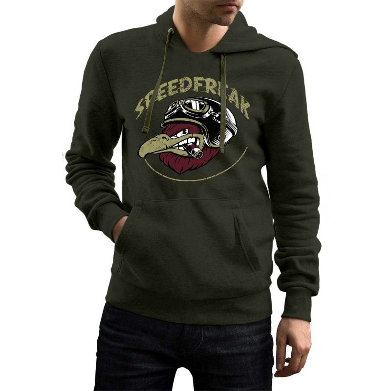 Rebel On Wheels Herren Hoodie Biker Speedfreak Oliv M