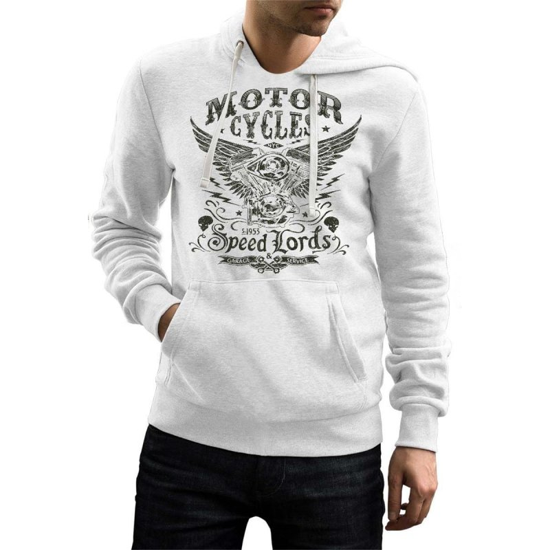 Rebel On Wheels Herren Hoodie Biker Speedlords Weiß 2XL