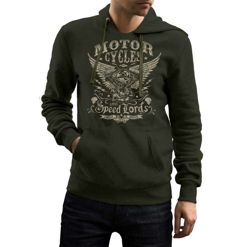 Rebel On Wheels Herren Hoodie Biker Speedlords Oliv 2XL