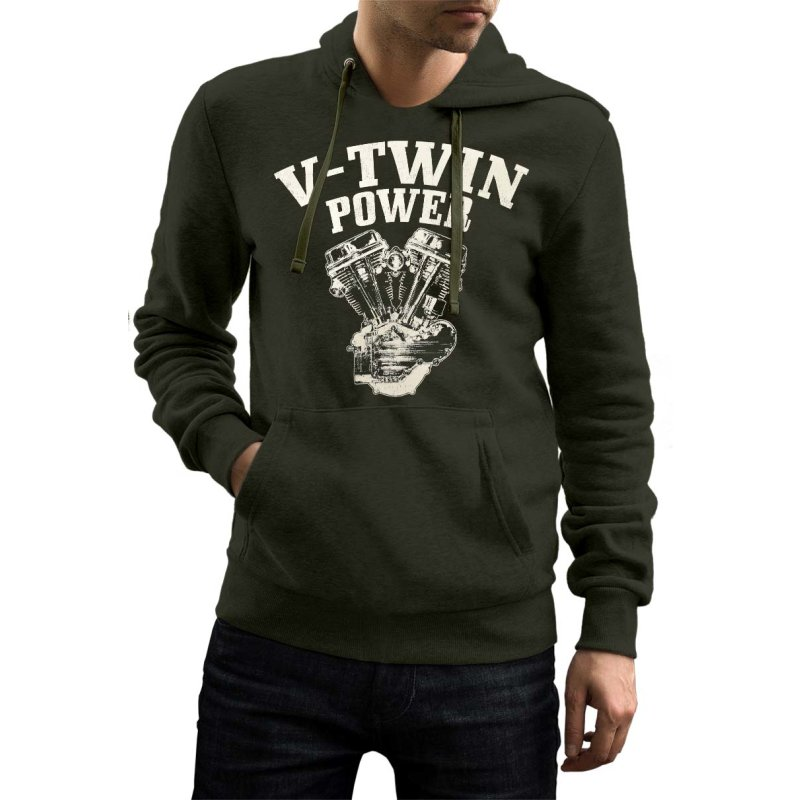 Rebel On Wheels Herren Hoodie Biker V-Twin Power Oliv L