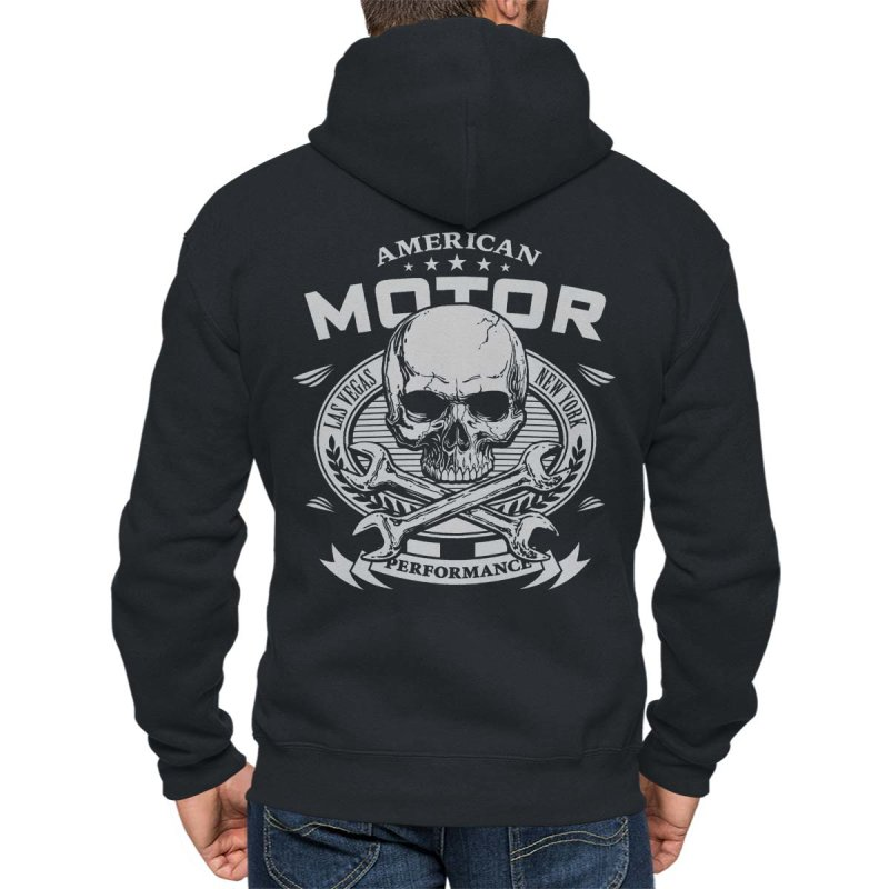 Rebel On Wheels Herren Kapuzenjacke Zip Hoodie American Motor Schwarz S