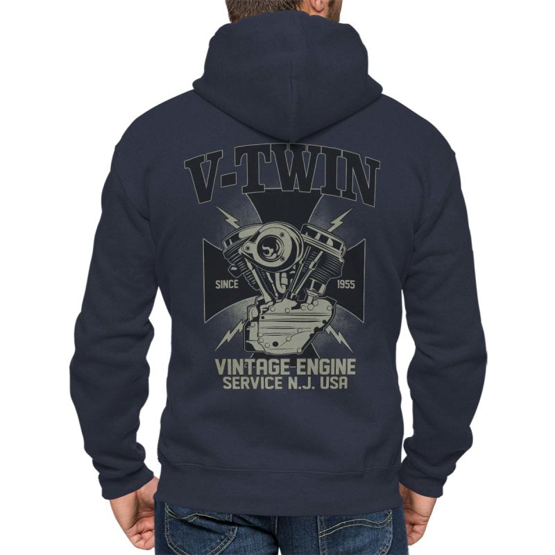 Rebel On Wheels Herren Kapuzenjacke Zip Hoodie Vintage Engine Blau L