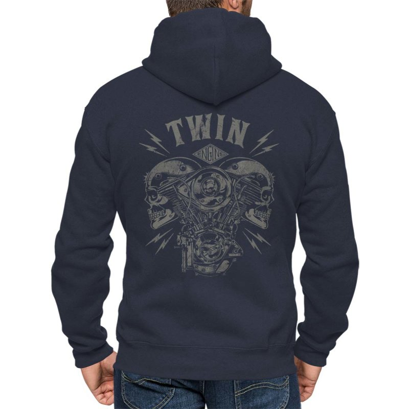 Rebel On Wheels Herren Kapuzenjacke Zip Hoodie V-Twin Skull Blau M