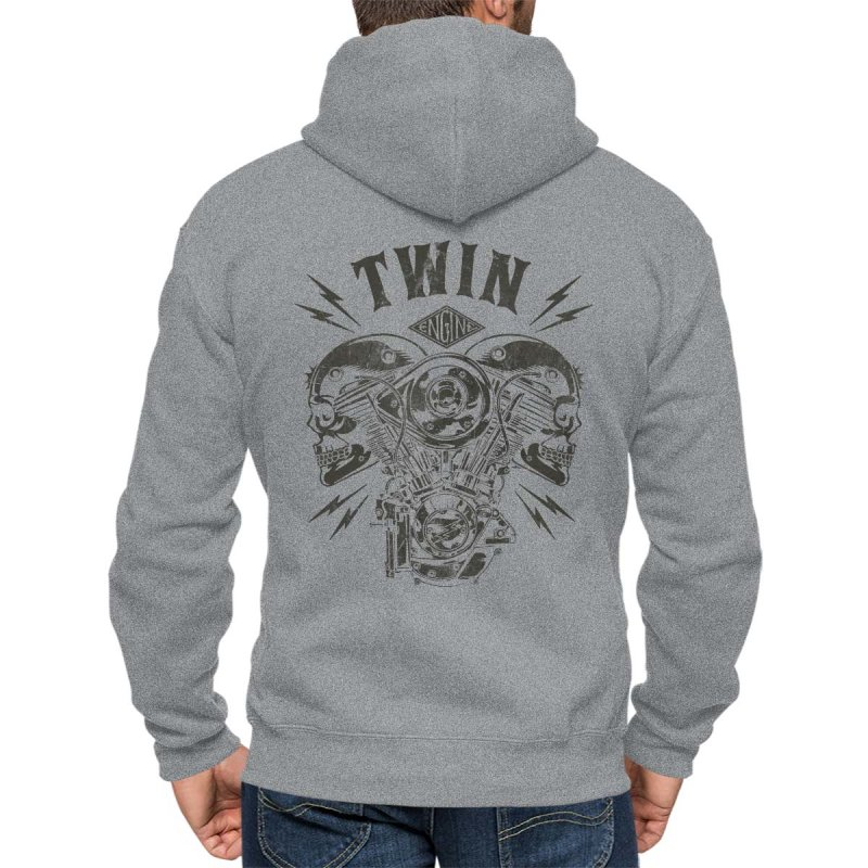 Rebel On Wheels Herren Kapuzenjacke Zip Hoodie V-Twin Skull Grau Melange XL