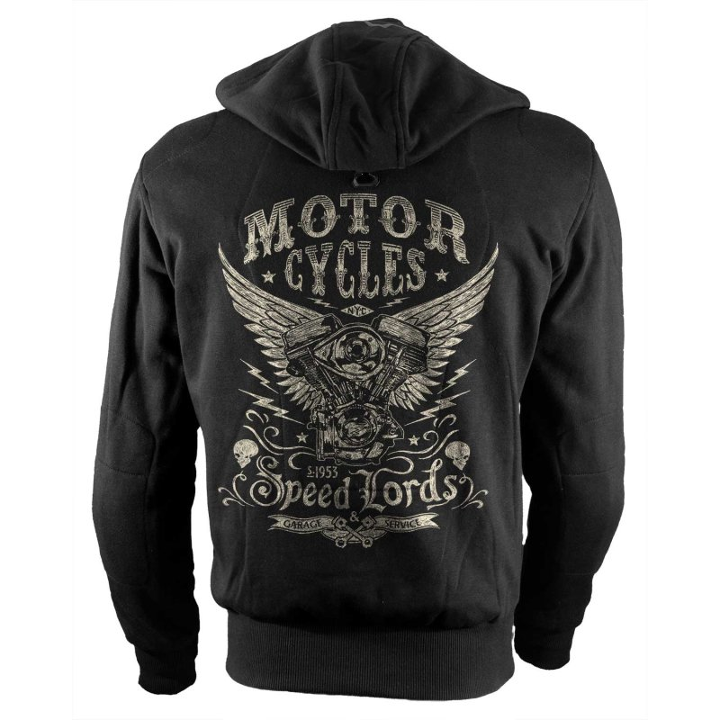 Rebel On Wheels Biker Motorrad Hoodie Speedlords Schwarz