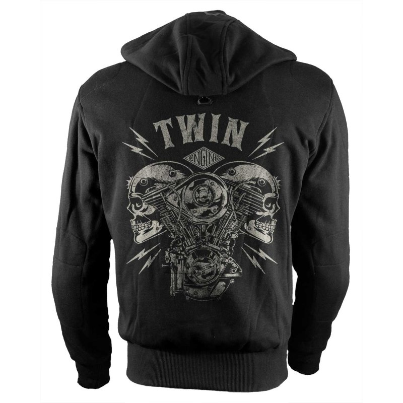 Rebel On Wheels Biker Motorrad Hoodie V-Twin Skull Schwarz