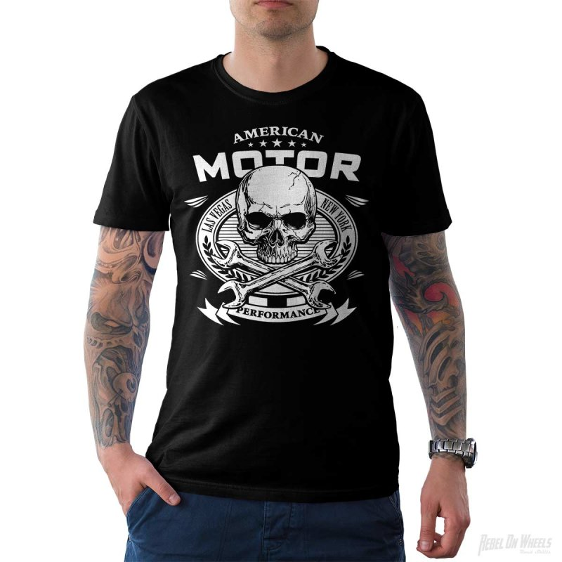 Rebel On Wheels Herren T-Shirt Tee American Motor Schwarz S