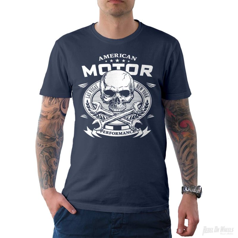 Rebel On Wheels Herren T-Shirt Tee American Motor Denim 3XL