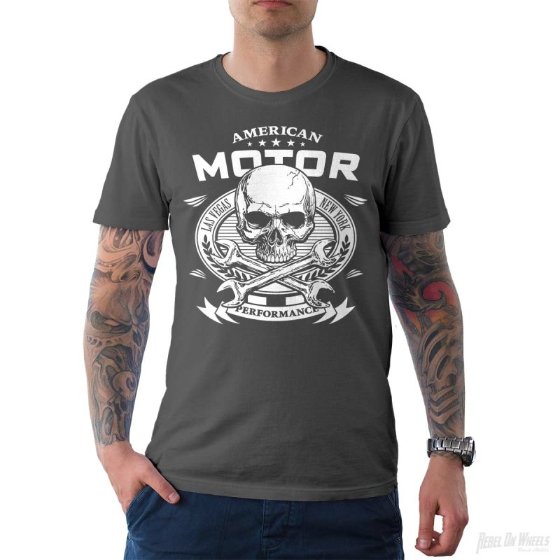 Rebel On Wheels Herren T-Shirt Tee American Motor Grau L