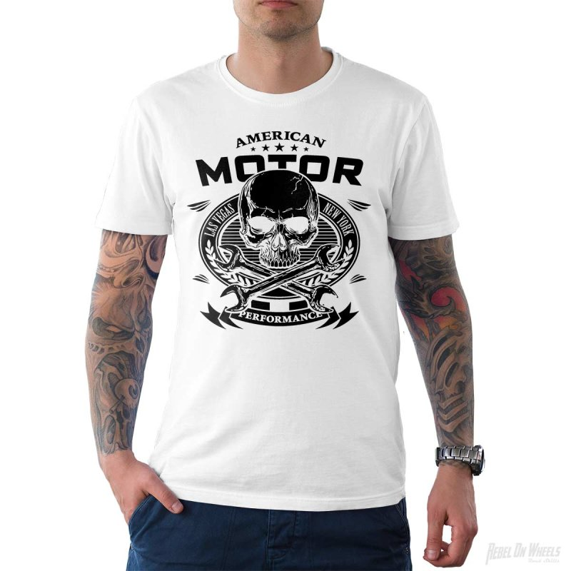 Rebel On Wheels Herren T-Shirt Tee American Motor Weiß 2XL