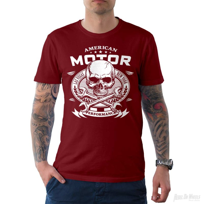 Rebel On Wheels Herren T-Shirt Tee American Motor Chilli XL