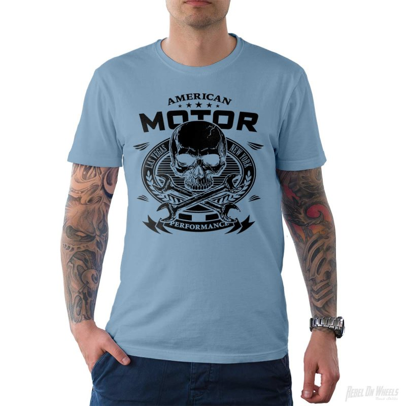 Rebel On Wheels Herren T-Shirt Tee American Motor Hellblau S