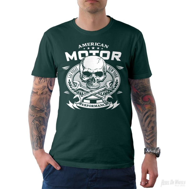 Rebel On Wheels Herren T-Shirt Tee American Motor Petrol XL