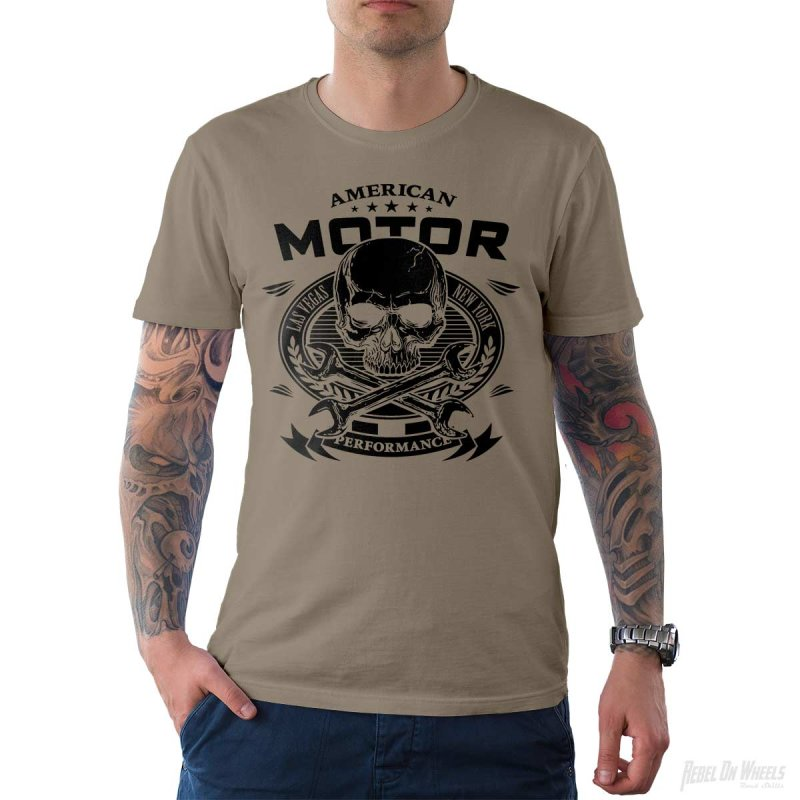 Rebel On Wheels Herren T-Shirt Tee American Motor Khaki M