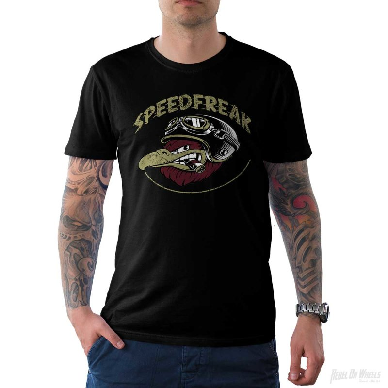 Rebel On Wheels Herren T-Shirt Tee Speedfreak Schwarz XL