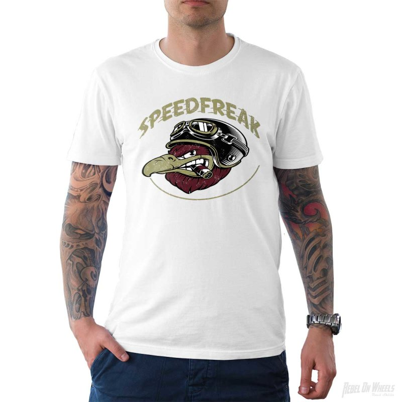 Rebel On Wheels Herren T-Shirt Tee Speedfreak Weiß L