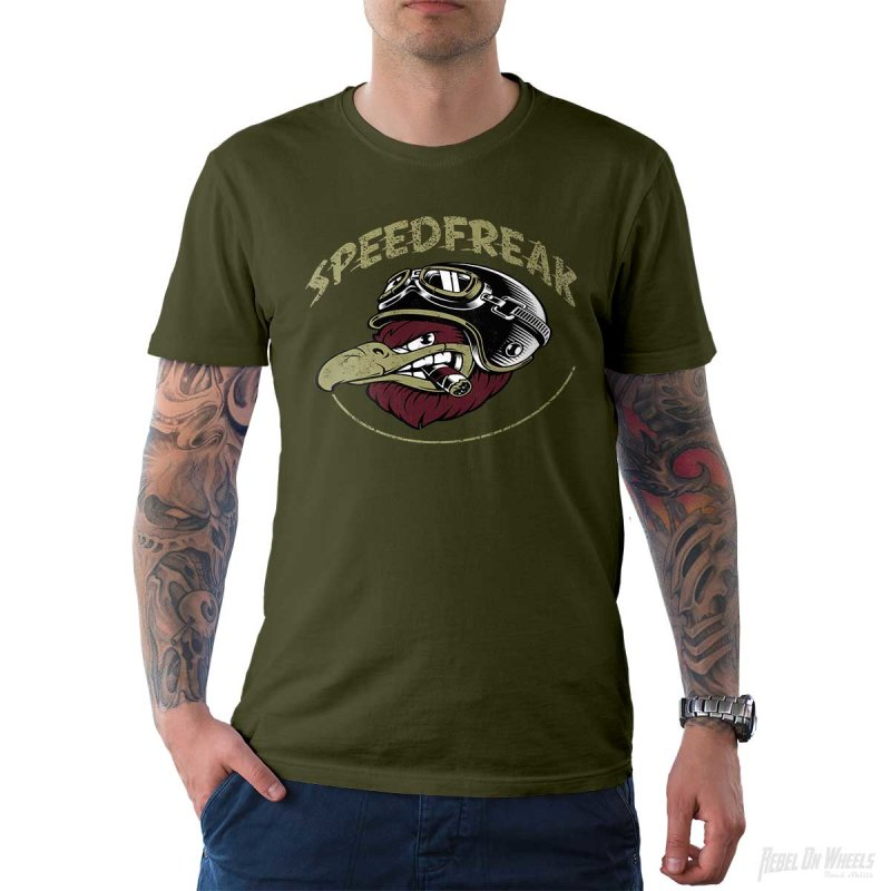 Rebel On Wheels Herren T-Shirt Tee Speedfreak Oliv 2XL