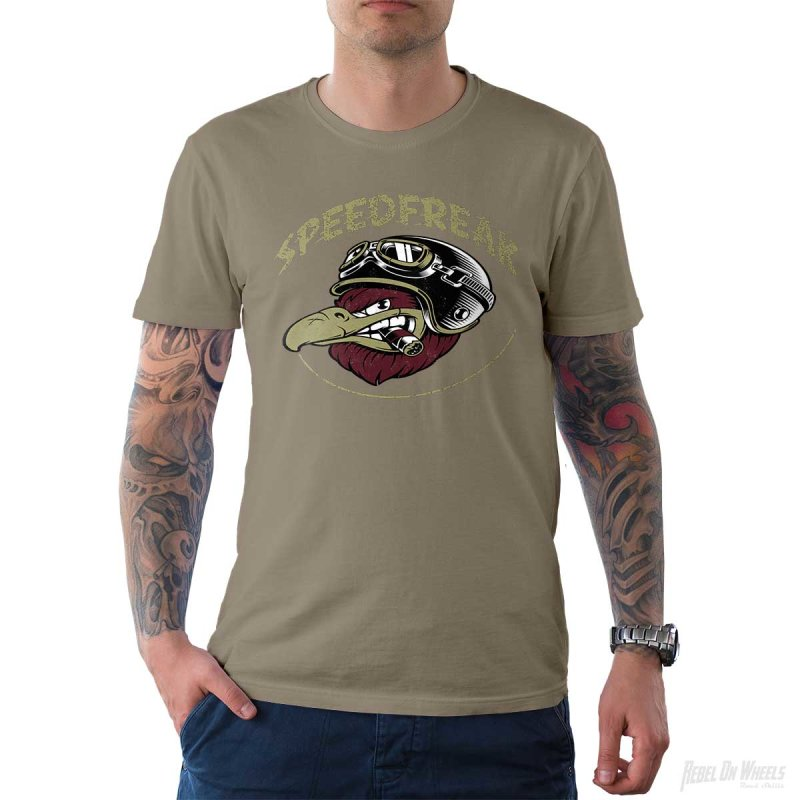 Rebel On Wheels Herren T-Shirt Tee Speedfreak Khaki S
