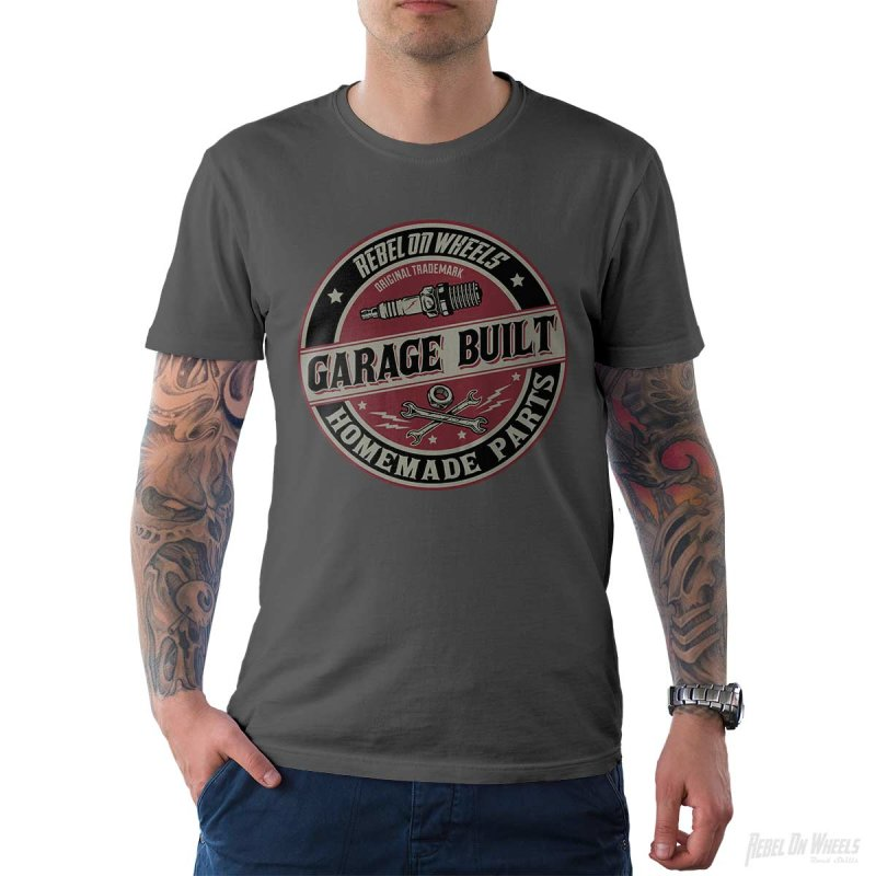 Rebel On Wheels Herren T-Shirt Tee Garage Built Grau M