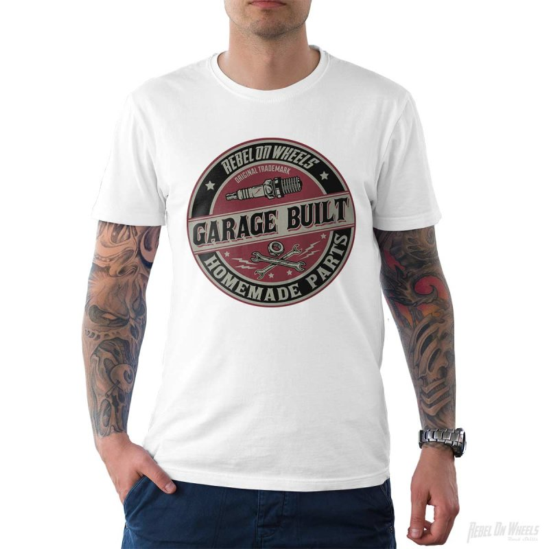 Rebel On Wheels Herren T-Shirt Tee Garage Built Weiß L