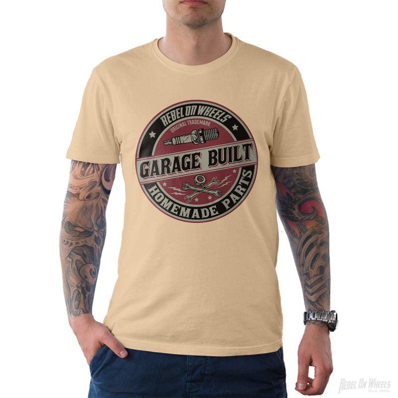 Rebel On Wheels Herren T-Shirt Tee Garage Built Cream M
