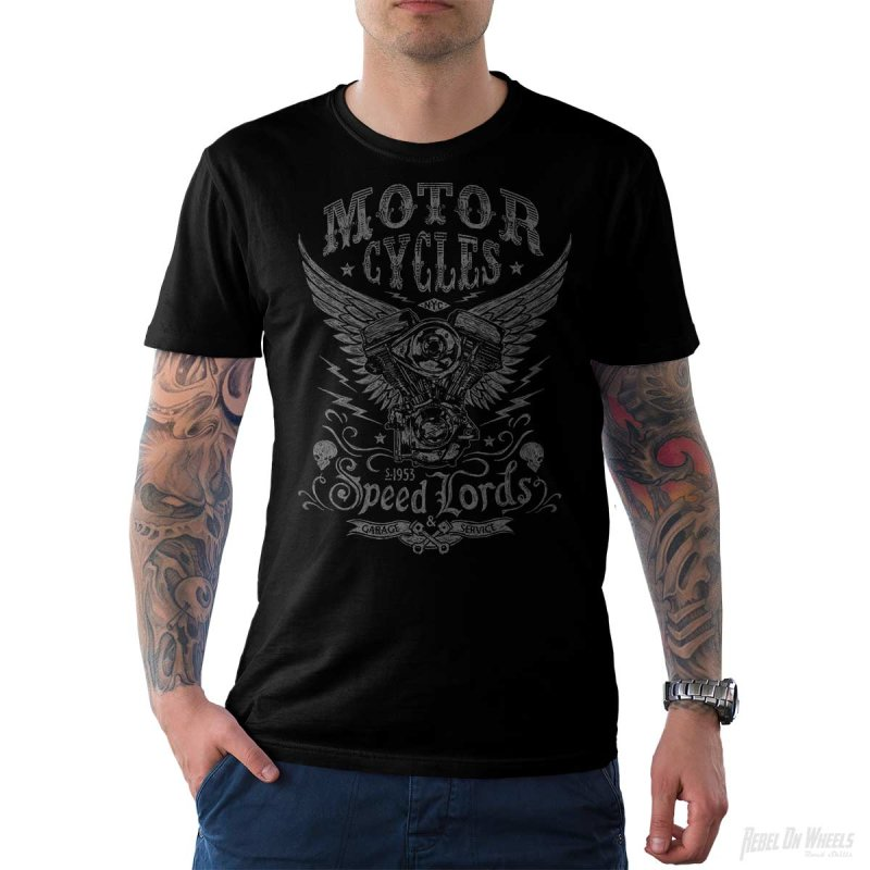 Rebel On Wheels Herren T-Shirt Tee Speedlords Schwarz S