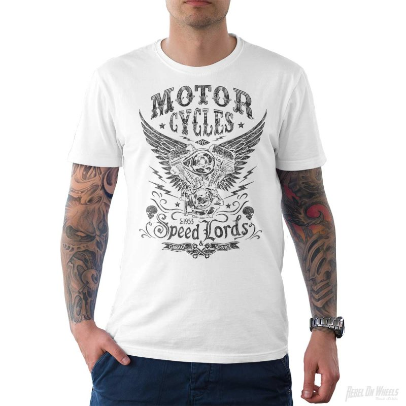 Rebel On Wheels Herren T-Shirt Tee Speedlords Weiß S