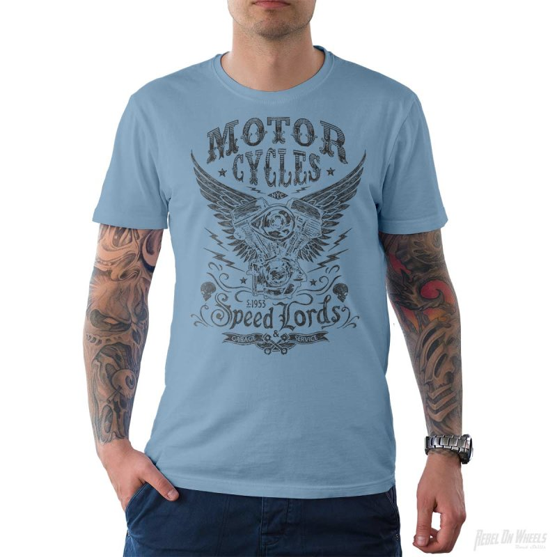 Rebel On Wheels Herren T-Shirt Tee Speedlords Hellblau S