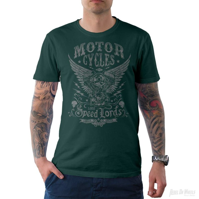 Rebel On Wheels Herren T-Shirt Tee Speedlords Petrol M
